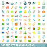 100 project planning icons set, cartoon style. 100 project planning icons set in cartoon style for any design vector illustration Royalty Free Stock Photos