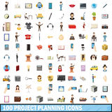100 project planning icons set, cartoon style Stock Images