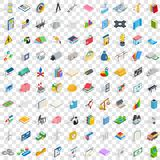 100 project planning icons set, isometric 3d style Royalty Free Stock Image
