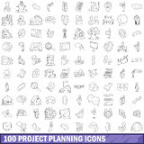 100 project planning icons set, outline style. 100 project planning icons set in outline style for any design vector illustration Royalty Free Stock Photo