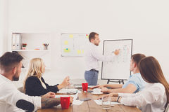Project presentation. Young hipsters businessmen and women. Project presentation. Young happy businessmen and women group at modern office, team discussion at Royalty Free Stock Photos