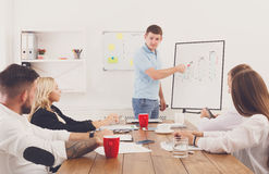 Project presentation. Young hipsters businessmen and women at mo. Project presentation. Young happy businessmen and women at modern office, team corporate Royalty Free Stock Photo