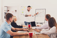 Project presentation. Young hipsters businessmen and women at modern office Royalty Free Stock Images