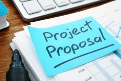 Project Proposal with stack of documents. royalty free stock photos