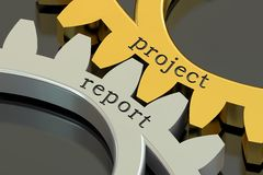 Project Report concept on the gearwheels, 3D rendering Stock Images