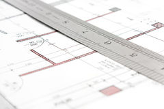 Project and ruler technical draw Royalty Free Stock Photography