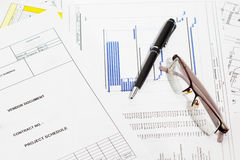 Project schedule. Project schedule documents with pen and eyeglasses royalty free stock photography