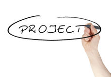 Project sign written by a felt tip pen on glass board Royalty Free Stock Photography