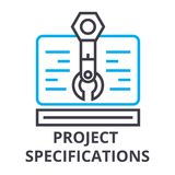 Project specifications thin line icon, sign, symbol, illustation, linear concept, vector vector illustration