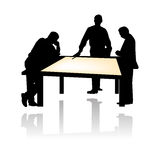Project staff meeting vector. Vectored illustration of businessmen discussing about a project at a table as silhouette Royalty Free Stock Photos