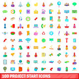 100 project start icons set, cartoon style. 100 project start icons set in cartoon style for any design vector illustration Royalty Free Stock Photos