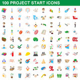 100 project start icons set, cartoon style. 100 project start icons set in cartoon style for any design vector illustration Stock Illustration