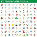 100 project start icons set, cartoon style. 100 project start icons set in cartoon style for any design illustration royalty free illustration