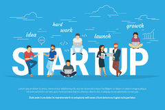 Project Startup Concept Illustration Of Business People Working Together As Team Stock Photos