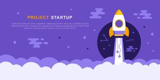 Project Startup Concept With Rocket ship. Successful launch. Flat Style Business Vector Illustration stock illustration