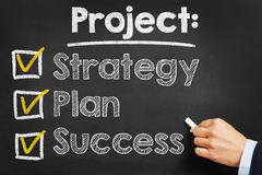 Project: Strategy Plan Success. Hand writes `Project: Strategy Plan Success` on blackboard Royalty Free Stock Images