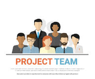 Project team avatars. Flat illustration of project team. Business employee avatars of the project team working together. Graphic design of teamwork, cooperation Royalty Free Stock Photography