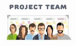 Employee group. Project team. Employee group. The team of workers. Men and women in one team. Men and women in one project team. Flat style. Flat design. Vector Royalty Free Stock Image