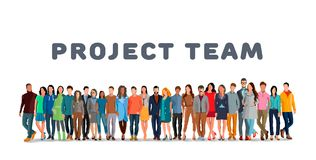 Employee group. Project team. Employee group. The team of workers. Men and women in one team. Men and women in one project team. Flat style. Flat design. Vector Royalty Free Stock Images