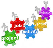 Project Team Working on Job Activity Venture Mission. People marching on gears featuring the words Project, Job, Activity, Venture and Mission to symbolize Stock Image