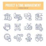 Project & Tijdleiding Krabbelpictogrammen stock illustratie