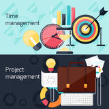Project and time management flat design concept. Business concept in flat design for project and time management with idea, timing and business symbols Royalty Free Stock Photos