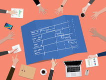Project timeline schedule concept illustration with hand team work together on top of the table Royalty Free Stock Photos