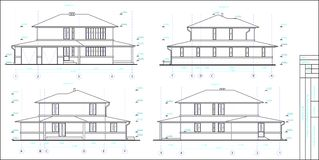The project is a two-storey individual house. Drawing of four facades. Black and white vector image vector illustration