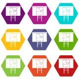 Project van huis op een vastgestelde kleur van het raadspictogram hexahedron Stock Afbeeldingen
