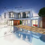 Project for a villa. With notes drawn Royalty Free Stock Photo