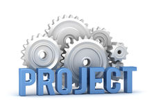 Project word with cogs in background Royalty Free Stock Photo