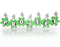 Project Word Gears People Working Together Accomplish Task Royalty Free Stock Image
