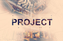PROJECT word over blueprint drawing combined with picture of equ Stock Photography