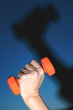 Projected Exercise. Womans hand holds coloured barbell, hand and barbell are projected on the background, form a big black shadow Stock Photography