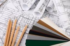 Projecten van huizen met kleurenpalet Royalty-vrije Stock Afbeeldingen