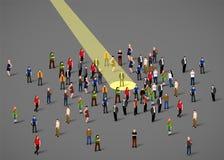Projecteur d'homme d'affaires Ressource humaine et recrutement Gens d'affaires de concept de location illustration stock