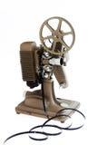 Projecteur de film antique d'isolement sur le blanc Images libres de droits
