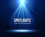 Projecteur lumineux par scène de vecteur Projecteur foncé Photo libre de droits