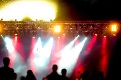 Projecteurs au concert Images libres de droits