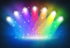 Projecteurs avec des couleurs d'arc-en-ciel Photos stock