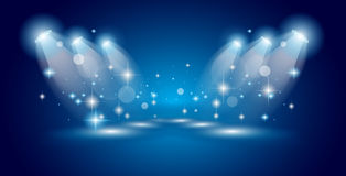 Projecteurs d'exposition de théâtre avec des étoiles d'american national standard de lumières illustration libre de droits