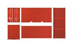 Projecties van rode die ladingscontainer op wit worden geïsoleerd Stock Fotografie