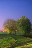 Projectile de nuit du chemin incurvé menant aux arbres. Image stock