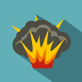 Projectile explosion icon, flat style. Projectile explosion icon. Flat illustration of projectile explosion vector icon for web Stock Photography