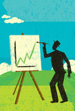 Projecting Higher Profits. A man painting a chart with higher profits on his easel. The man & easel and the background are on separate labeled layers Stock Photos