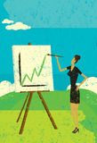 Projecting Higher Profits. A woman painting a chart with higher profits on her easel. The woman & easel and the background are on separate labeled layers Royalty Free Stock Image
