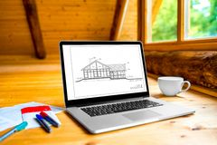 Projecting a house Royalty Free Stock Images