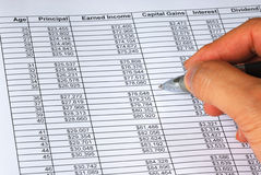 Projecting the income on a spreadsheet. Projecting the income from age 25 to 50 on a spreadsheet Stock Image
