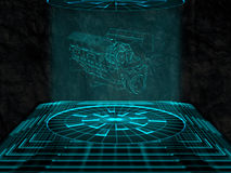 Projection of car engine. Against pattern background Royalty Free Stock Photo