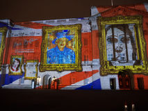 Projection de Buckingham Palace des images photographie stock